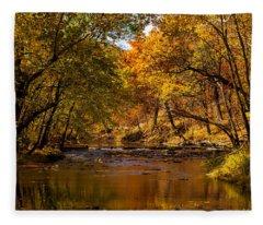 Indian Creek In Fall Color Fleece Blanket