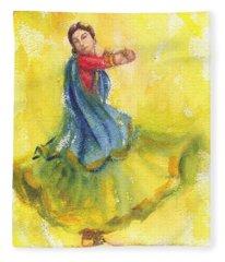 Indian Dancer Fleece Blanket