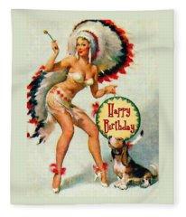 Indian Girl - Birthday Celebration Fleece Blanket