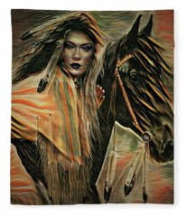 American Indian On Horse Fleece Blanket
