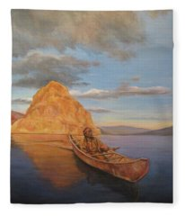 Indian On Lake Pyramid Fleece Blanket