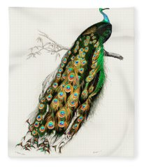 Indian Peafowl - Pavo Cristatus Fleece Blanket