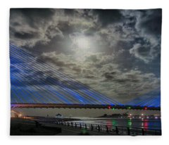 Indian River Bridge Moonlight Panorama Fleece Blanket