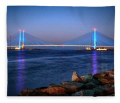 Indian River Inlet Bridge Twilight Fleece Blanket