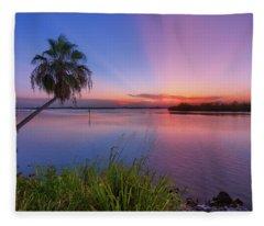 Indian River State Park Bursting Sunset Fleece Blanket