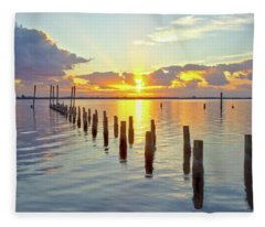Indian River Sunrise Fleece Blanket