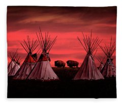 Indian Tepees At Sunset With American Bison Fleece Blanket