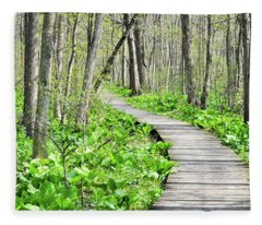 Indiana Dunes Great Green Marsh Boardwalk Fleece Blanket
