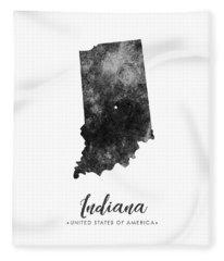 Indiana State Map Art - Grunge Silhouette Fleece Blanket