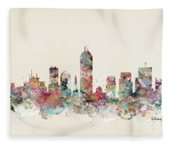 Indianapolis City Skyline Fleece Blanket