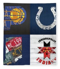 Indianapolis Indiana Sports Team License Plate Art Collage Map Pacers Colts Indians Fleece Blanket