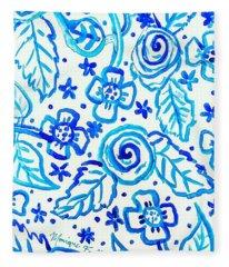 Indigo Blooms Fleece Blanket