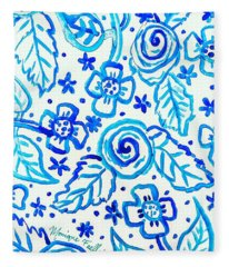 Indigo Blooms Fleece Blanket