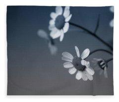 Indigo Daisies 2- Art By Linda Woods Fleece Blanket