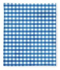 Indigo Gingham- Design By Linda Woods Fleece Blanket