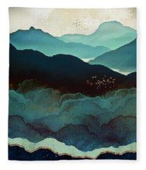 Indigo Mountains Fleece Blanket