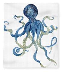 Indigo Ocean Blue Octopus  Fleece Blanket
