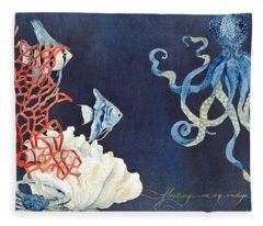 Indigo Ocean - Floating Octopus Fleece Blanket