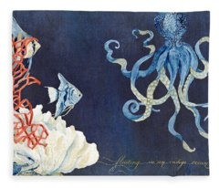 Indigo Ocean - Floating Octopus Fleece Blanket