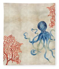 Indigo Ocean - Octopus Floating Amid Red Fan Coral Fleece Blanket