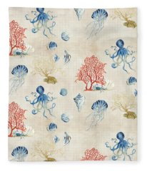 Indigo Ocean - Red Coral Octopus Half Drop Pattern Fleece Blanket