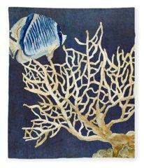 Indigo Ocean - Tan Fan Coral N Angelfish Fleece Blanket