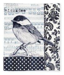 Indigo Vintage Songbird 2 Fleece Blanket