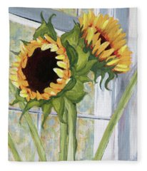 Indoor Sunflowers II Fleece Blanket