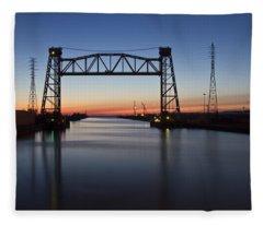 Industrial River Scene At Dawn Fleece Blanket
