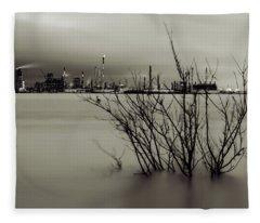 Industry On The Mississippi River, In Monochrome Fleece Blanket