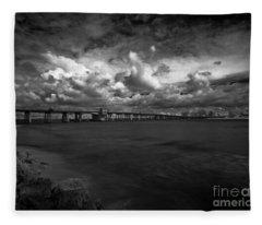 Infrared Longboat Pass Bridge Fleece Blanket