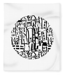 Inky Village Sketch Ball- Art By Linda Woods Fleece Blanket