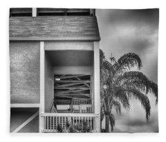 Inside Outside - Black And White Fleece Blanket