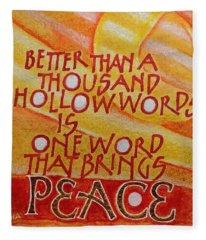 Inspirational Saying Peace Fleece Blanket
