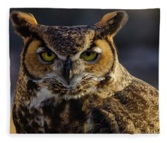 Intense Owl Fleece Blanket