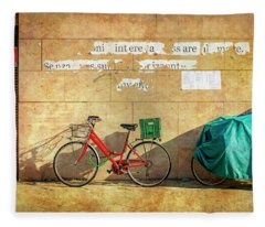 Intere Red Bicycle With Green Basket Fleece Blanket