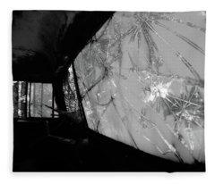 Interior In Gray Fleece Blanket