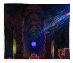 Interior Looking Rearwards, Cathedral Of St. John The Divine Fleece Blanket