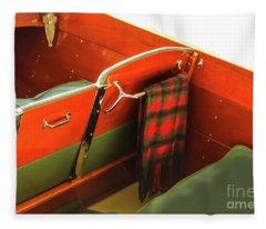 interior of Classic Wooden Motorboat Fleece Blanket