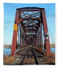 International Bridge - Railway Bridge To United States Fleece Blanket