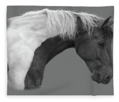 Intrigued - Black And White Fleece Blanket