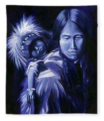 Inuit Mother And Child Fleece Blanket