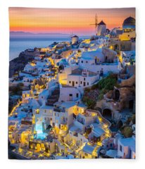 Oia Sunset Fleece Blanket