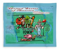 Iowa Fun Map Fleece Blanket
