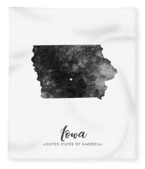 Iowa State Map Art - Grunge Silhouette Fleece Blanket