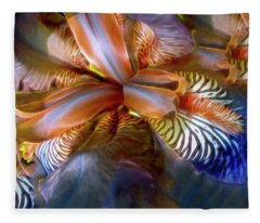 Fleece Blanket featuring the mixed media Iris Dream by Lynda Lehmann