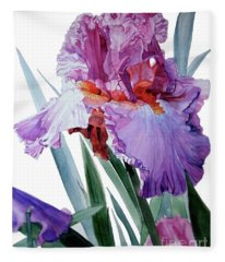 Watercolor Of A Tall Bearded Iris In Pink, Lilac And Red I Call Iris Pavarotti Fleece Blanket