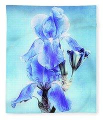 Iris Pair In Blue Fleece Blanket