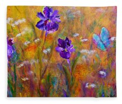 Iris Wildflowers And Butterfly Fleece Blanket