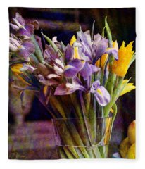 Irises In A Glass Fleece Blanket